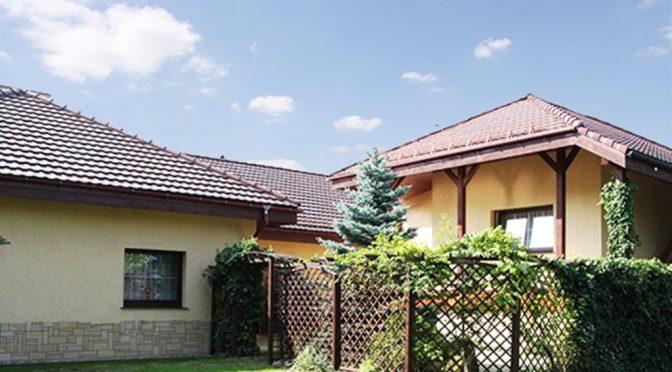 widok od strony ogrodu na luksusową rezydencje do sprzedaży w okolicach Wałbrzycha