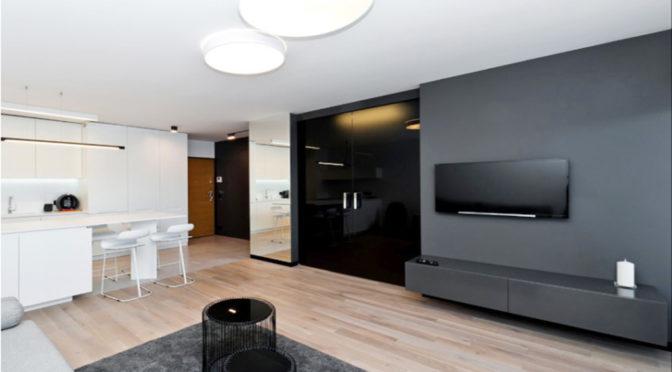 nowoczesny salon w prestiżowym apartamencie do sprzedaży w Krakowie