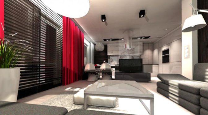 nowoczesny salon w ekskluzywnym apartamencie do sprzedaży w Kwidzynie