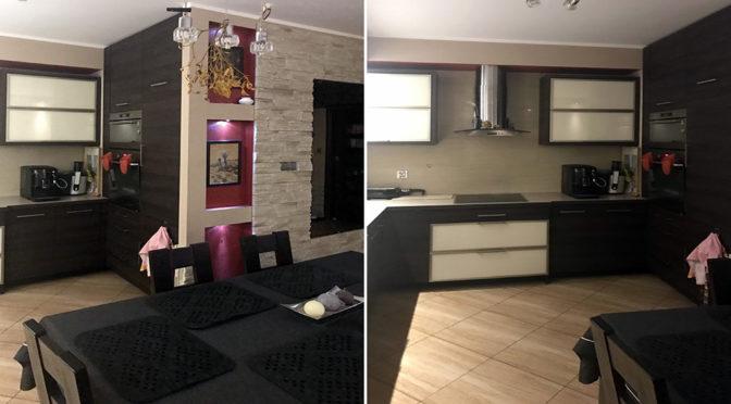 po lewej kuchnia, po prawej salon w luksusowym apartamencie do sprzedaży w Kaliszu