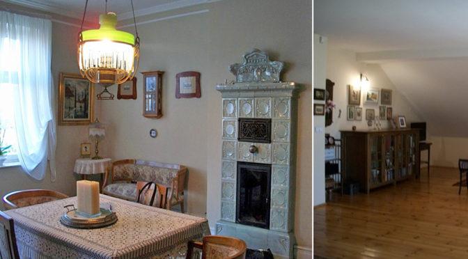 na zdjęciu stylowy salon z kominkiem oraz fragment ekskluzywne wyposażonego pokoju w luksusowej rezydencji do sprzedaży w Cieszynie