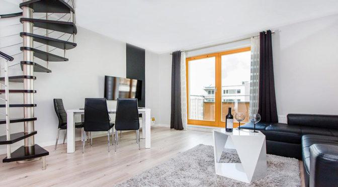 nowoczesny salon w luksusowym apartamencie w Szczecinie na sprzedaż