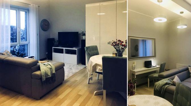 po lewej salon, po prawej pokój dzienny w ekskluzywnym apartamencie do sprzedaży w Szczecinie