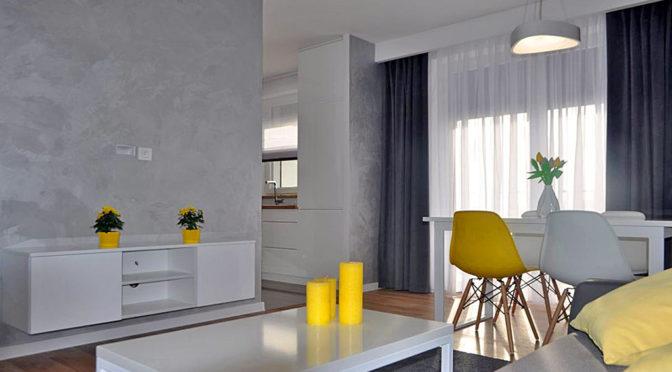 nowoczesny salon w ekskluzywnym apartamencie w Kaliszu na sprzedaż