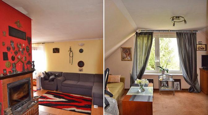 po lewej salon po prawej jeden z luksusowych pokoi w ekskluzywnej rezydencji do sprzedaży w Białymstoku