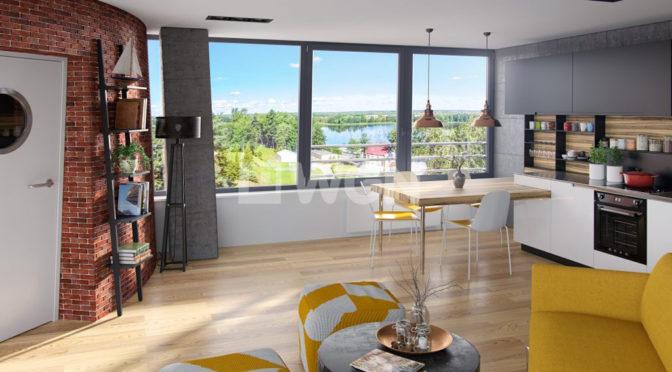nowoczesny salon w ekskluzywnym apartamencie do sprzedaży w okolicach Piły