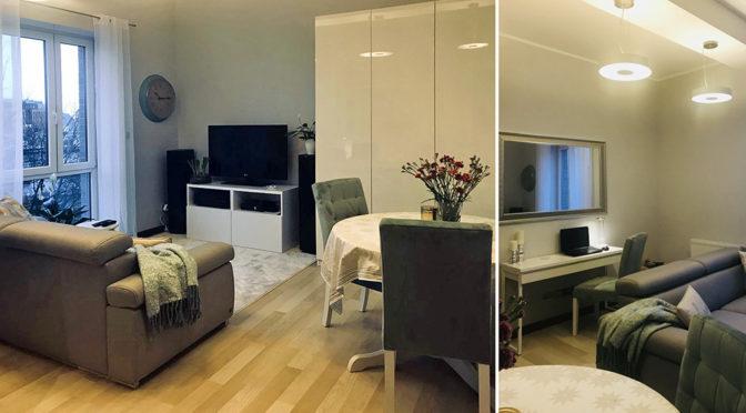 na zdjęciach luksusowy salon w ekskluzywnym apartamencie na wynajem w Szczecinie