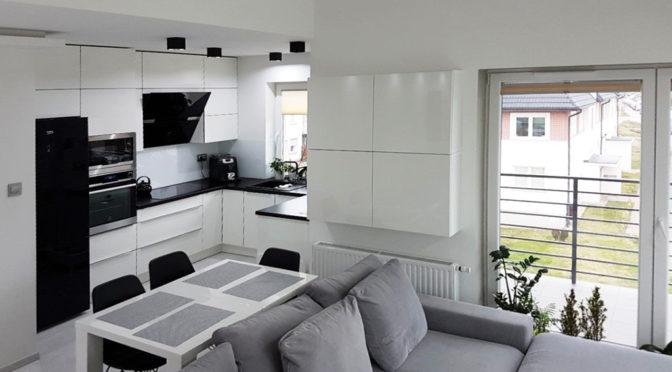 nowoczesne wnętrze salonu w ekskluzywnym apartamencie do sprzedaży w Szczecinie