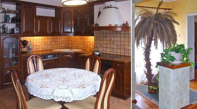 po lewej kuchnia, po prawej przedpokój w ekskluzywnej rezydencji w okolicy Legnicy na wynajem