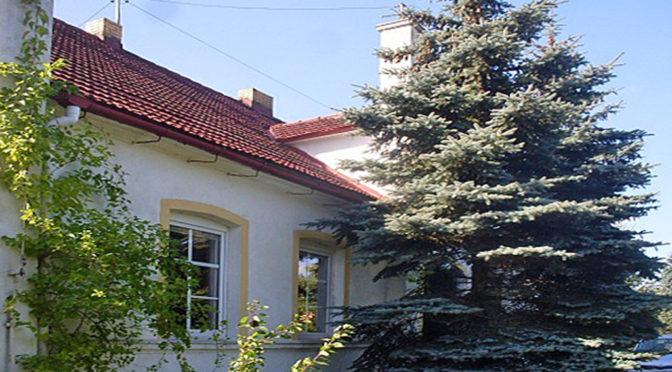 front oraz reprezentacyjne wejście do luksusowej rezydencji na sprzedaż w okolicach Gorzowa Wielkopolskiego