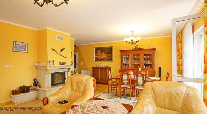 stylowy salon z kominkiem w luksusowej rezydencji do sprzedaży w okolicach Szczecina