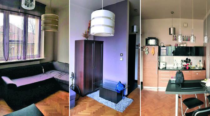 fragment salonu, przedpokoju oraz kuchni w ekskluzywnym apartamencie do sprzedaży w Krakowie
