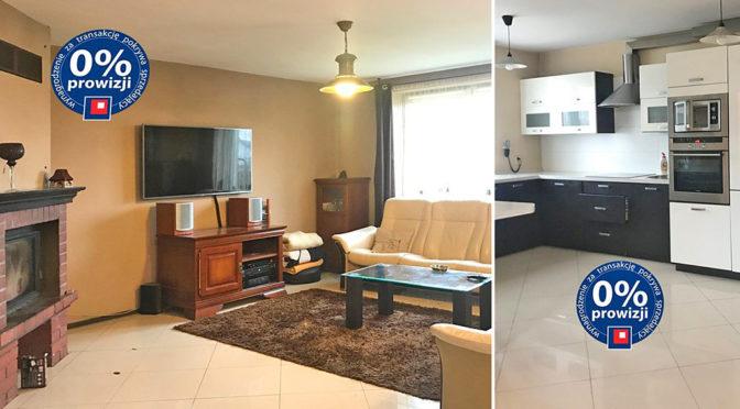 po lewej ekskluzywny salon, po prawej komfortowa kuchnia w ekskluzywnej rezydencji do sprzedaży w Krakowie
