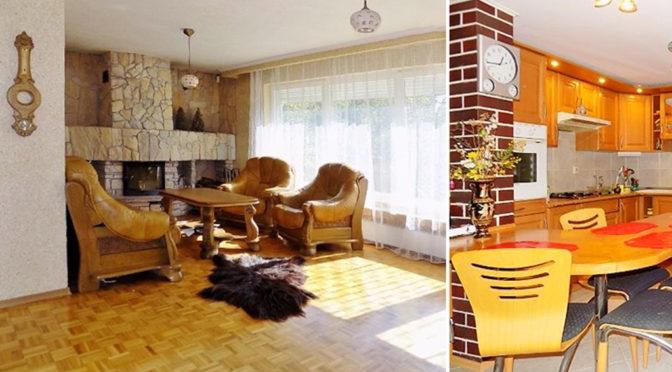 po lewej salon z kominkiem, po prawej kuchnia w ekskluzywnej rezydencji do sprzedaży w okolicach Zielonej Góry