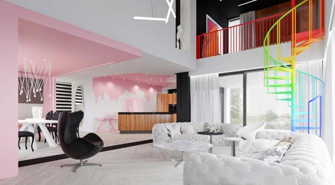 nowoczesne wnętrze luksusowej rezydencji do sprzedaży w okolicy Łodzi