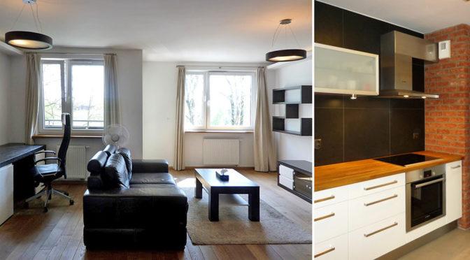po lewej salon, po prawej kuchnia w luksusowym apartamencie do wynajmu we Wrocławiu