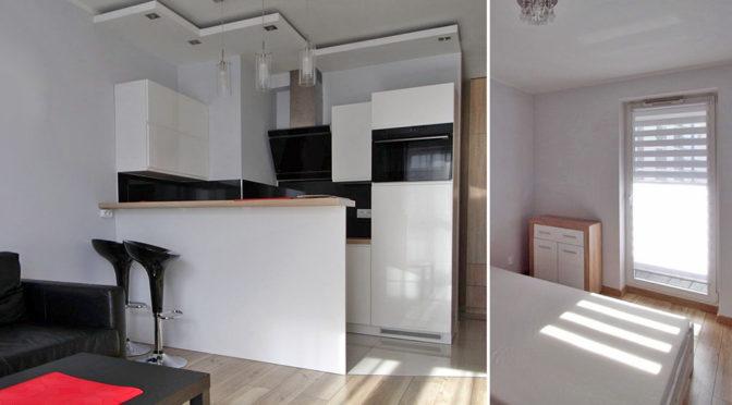 po lewej nowoczesny aneks kuchenny, po prawej elegancka sypialnia w luksusowym apartamencie do wynajmu w Krakowie