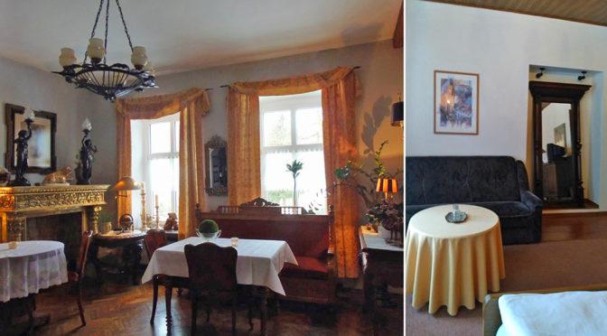 po lewej salon, po prawej fragment sypialni w luksusowej rezydencji do sprzedaży w Lądku-Zdroju