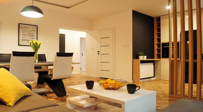 nowoczesny salon w luksusowym apartamencie w Kaliszu na sprzedaż