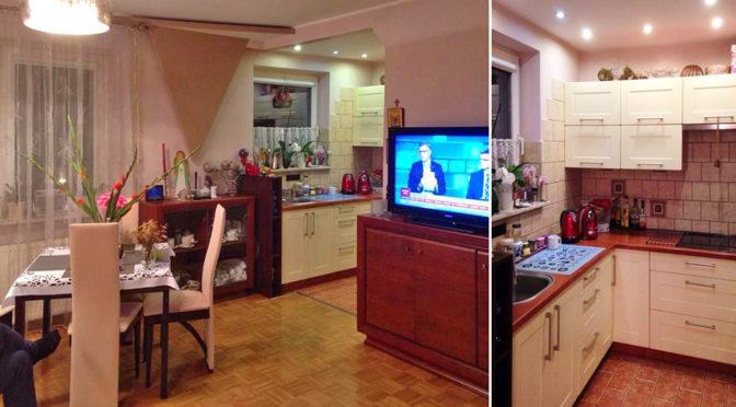 po lewej salon, po prawej kuchnia w ekskluzywnym apartamencie do sprzedaży w Krakowie