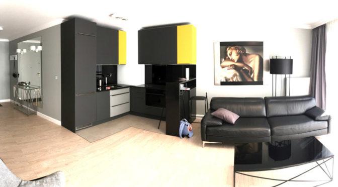 nowoczesne wnętrze salonu w luksusowym apartamencie w Szczecinie na wynajem