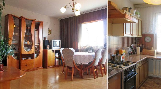 po lewej salon, po prawej kuchnia w ekskluzywnym apartamencie do sprzedaży w Kaliszu
