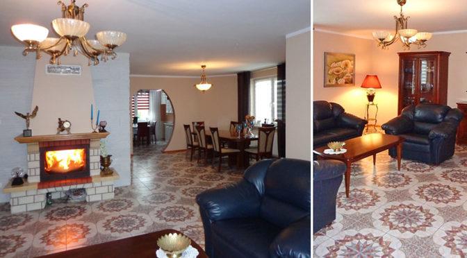 po lewej ekskluzywne wnętrze, po prawej komfortowy salon w luksusowej rezydencji do sprzedaży nad morzem
