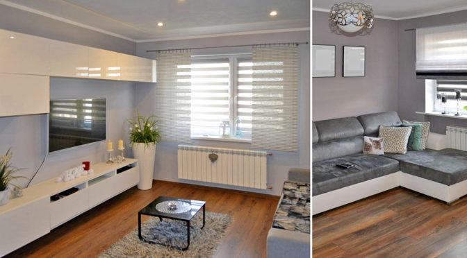 salon w nowoczesnym designie znajdujący się w ekskluzywnym apartamencie do sprzedaży w Rawiczu