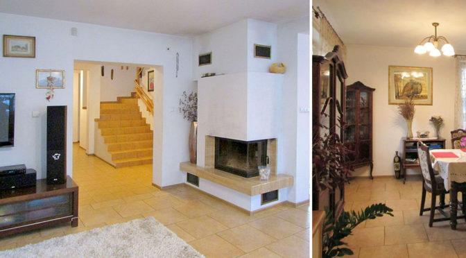 po lewej salon z kominkiem, po prawej fragment jadalni w luksusowej rezydencji w Rzeszowie na sprzedaż