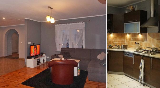 po lewej salon, po prawej aneks kuchenny w luksusowej rezydencji do sprzedaży w okolicach Leszna