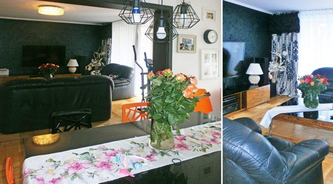 po lewej widok od strony jadalni, po prawej salon w ekskluzywnym apartamencie do sprzedaży w Częstochowie