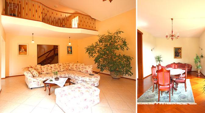 po lewej komfortowy salon , po prawej jadalnia w ekskluzywnej rezydencji do wynajęcia w Szczecinie
