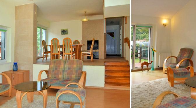 po lewej komfortowe wnętrze, po prawej fragment salonu w luksusowej rezydencji do sprzedaży w Słupsku