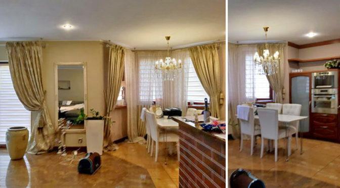 stylowy salon z kominkiem w ekskluzywnej rezydencji do wynajęcia w Szczecinie