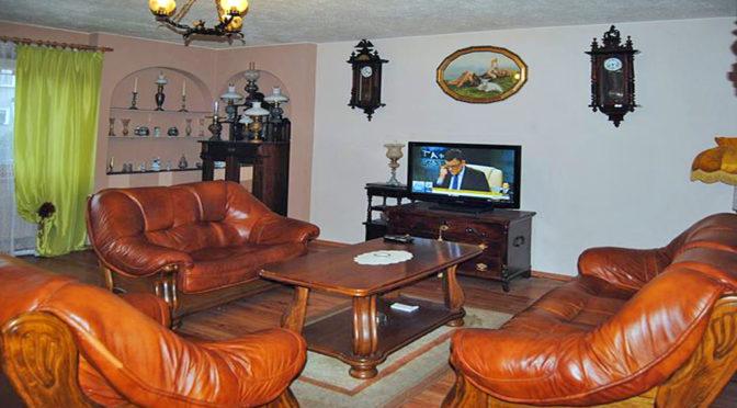 stylowe wnętrze salonu z kominkiem w luksusowej rezydencji do wynajęcia w Zgorzelcu