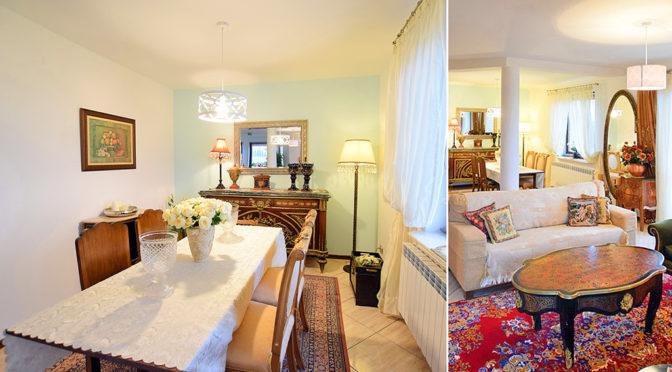 po lewej jadalnia w stylu klasycznym, po prawej salon w luksusowej rezydencji do sprzedaży Suwałki