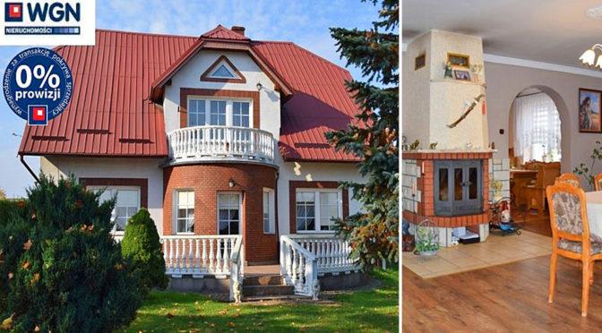 widok od strony ogrodu na ekskluzywną rezydencję do sprzedaży Słupsk oraz salon z kominkiem