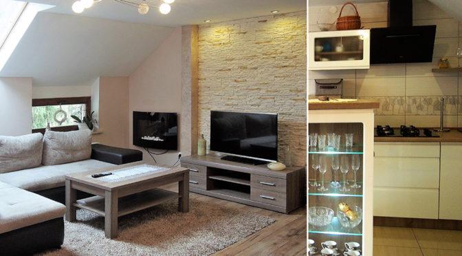 po lewej fragment salonu, po prawej kuchni w luksusowej rezydencji do sprzedaży Bielsko Biała okolice