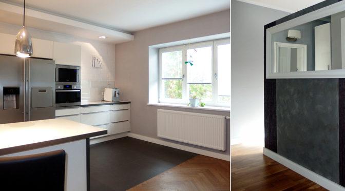po lewej salon, po prawej fragment jadalni w ekskluzywnej rezydencji do wynajęcia Wrocław