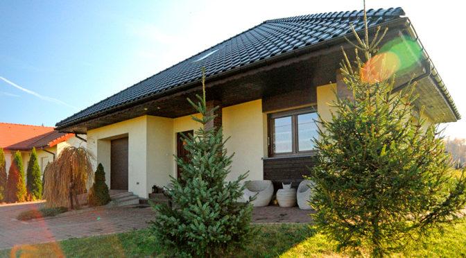 widok od strony ogrodu na luksusową rezydencję do sprzedaży Gliwice (okolice)