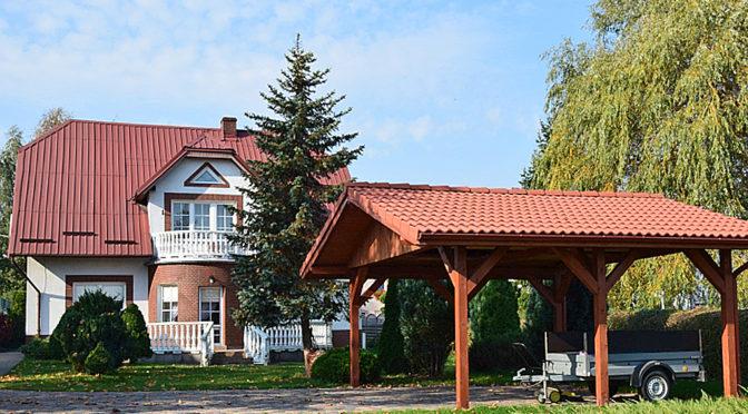 prestiżowa rezydencja na sprzedaż z wiatą Słupsk, widok od strony ogrodu