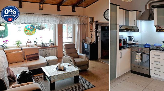 po lewej komfortowy salon, po prawej fragment kuchni w luksusowej rezydencji do sprzedaży Bielsko-Biała (okolice)