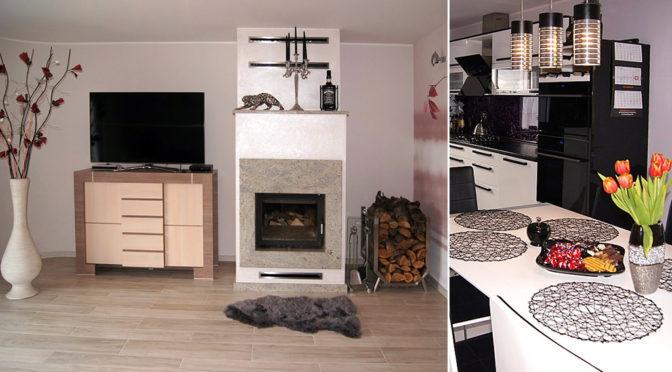 po lewej salon z kominkiem, po prawej fragment kuchni w ekskluzywnej rezydencji do sprzedaży Bydgoszcz (okolice)