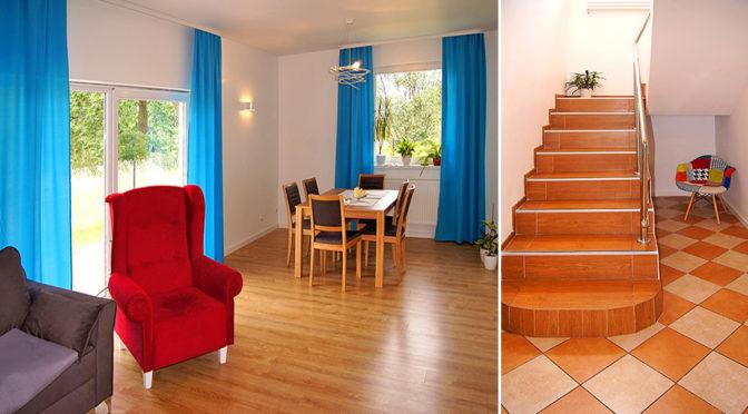 po lewej salon, po prawej schody na poziom 1 w ekskluzywnej rezydencji do sprzedaży Toruń (okolice)