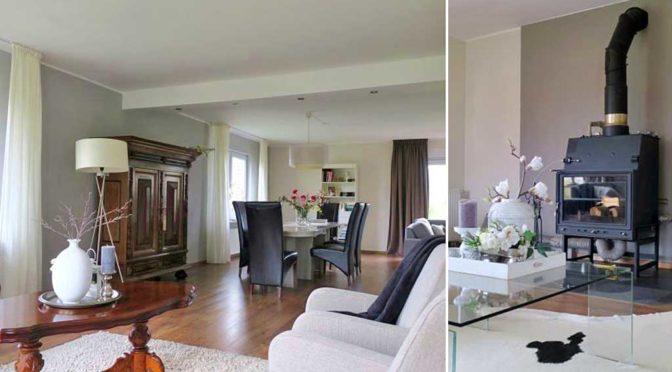 po lewej salon w stylu klasycznym, po prawej zbliżenie na kominek w luksusowej rezydencji do sprzedaży nad morzem