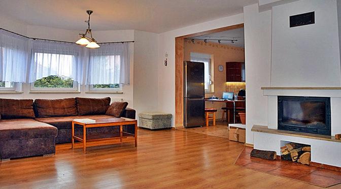 komfortowy salon z kominkiem w ekskluzywnej rezydencji do sprzedaży Bolesławiec