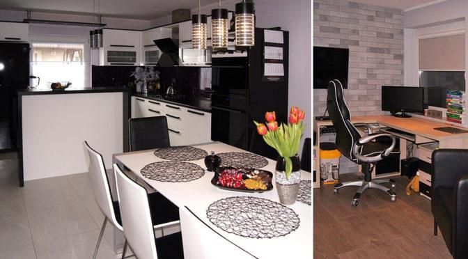 po lewej kuchnia i jadalnia, po prawej komfortowy gabinet w ekskluzywnej rezydencji do sprzedaży Bydgoszcz (okolice)
