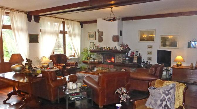 stylowy salon z kominkiem w luksusowej rezydencji na sprzedaż Kwidzyn
