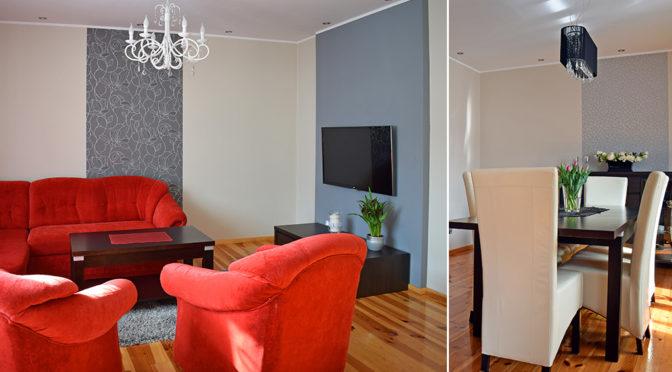 po lewej elegancki salon, po prawej fragment jadalni w luksusowej rezydencji do wynajęcia Ostrów Wielkopolski