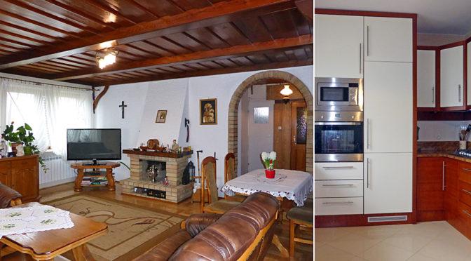 po lewej salon z kominkiem, po prawej fragment nowoczesnej kuchni w ekskluzywnej rezydencji do sprzedaży Malbork (okolice)